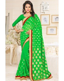 Designer Green Georgette Embroidered Saree  - 76905