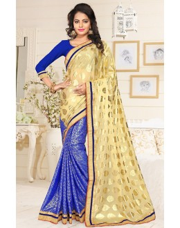 Ethnic Wear Beige & Blue Lycra Saree  - 76908