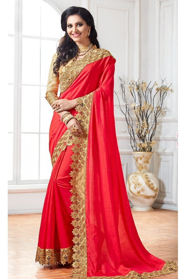 Ethnic Wear Red & Brown Crepe Silk Saree  - 76919
