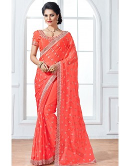 Ethnic Wear Orange & Chiffon Saree  - 76924
