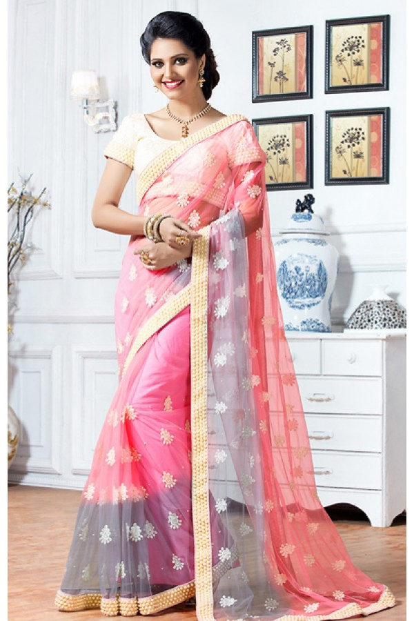 Festival Wear Pink & Beige Net Embroidered Saree  - 76925