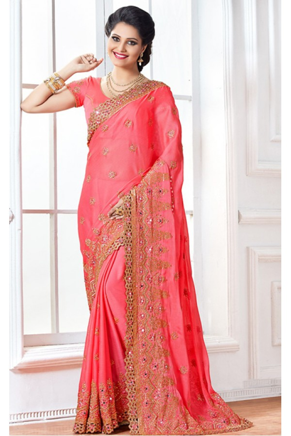 Wedding Wear Pink Chiffon Embroidery Saree  - 76926