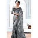 Party Wear Grey Net Embroidery Saree  - 76927