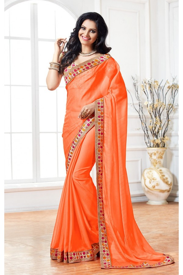 Ethnic Wear Orange & Beige Chiffon Saree  - 76930