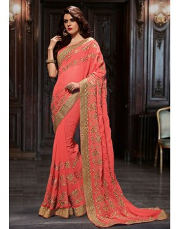 Festival Wear Red Chiffon Embroidered Saree  - 76947