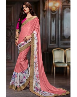 Ethnic Wear Pink Chiffon Saree  - 76950