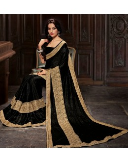 Ethnic Wear Black Lycra Saree  - 76952