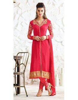 Party Wear Pink Georgette Salwar Suit  - 77025