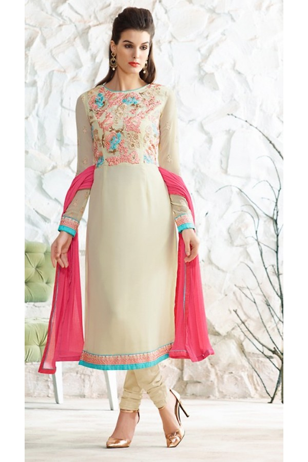 Office Wear Cream & Pink Georgette Salwar Suit  - 77026