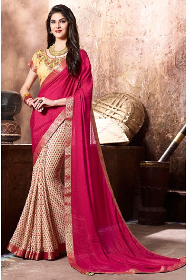 Party Wear Pink & Beige Georgette Saree  - 77114