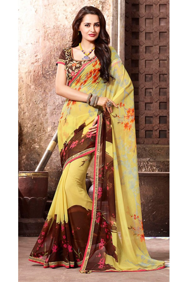 Festival Wear Yellow & Brown Georgette Saree  - 77119