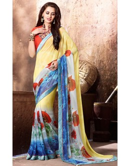 Casual Wear Yellow & Red Georgette Saree  - 77123
