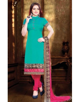 Party Wear Readymade Turquoise Silk Salwar Suit - 77145