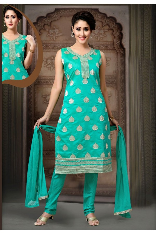 Office Wear Readymade Turquoise Salwar Suit - 77791
