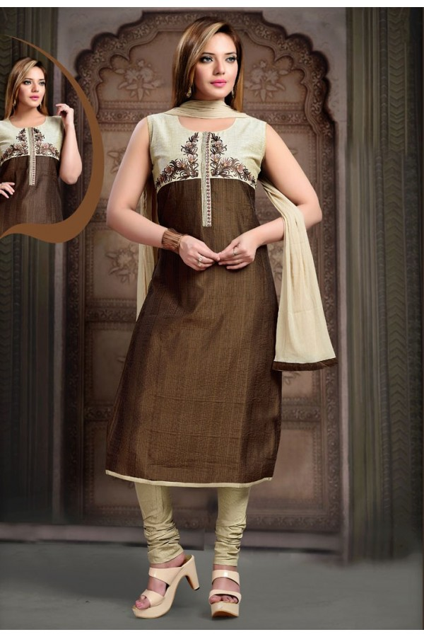 Party Wear Readymade Brown Salwar Suit - 77812