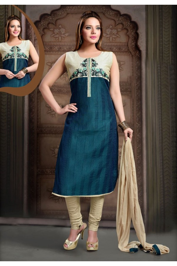 Ethnic Wear Readymade Teal Blue Salwar Suit - 77814