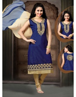 Party Wear Readymade Navy Blue Salwar Suit - 77831