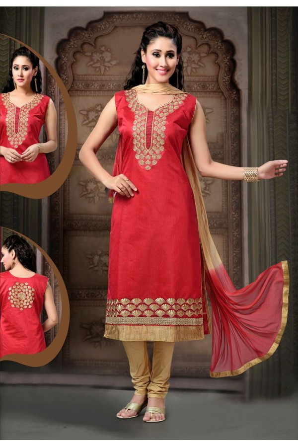 Festival Wear Readymade Red Art Silk Salwar Suit - 77836