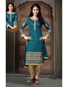 Ethnic Wear Readymade Teal Blue Salwar Suit - 77842