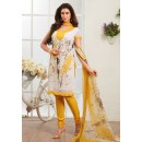 Office Wear White & Yellow Crepe Silk Salwar Suit  - 77815