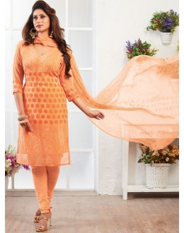 Casual Wear Orange Crepe Silk Salwar Suit  - 77818