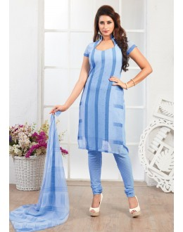 Office Wear Blue Crepe Silk Salwar Suit  - 77819