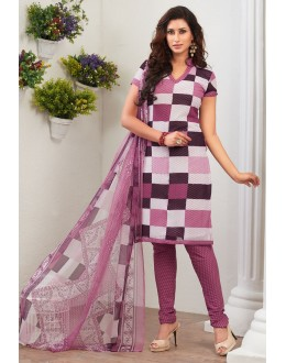 Ethnic Wear Fuchsia Crepe Silk Salwar Suit  - 77822