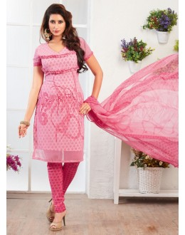 Office Wear Pink Crepe Silk Salwar Suit  - 77824