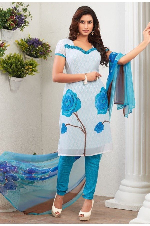 Casual Wear White & Blue Crepe Silk Salwar Suit  - 77827
