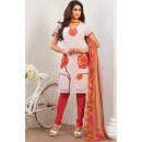 Ethnic Wear White & Red Crepe Silk Salwar Suit  - 77828