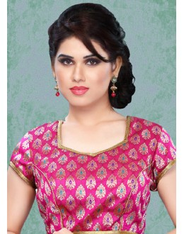 Festival Wear Readymade Pink Brocade Blouse - 77874