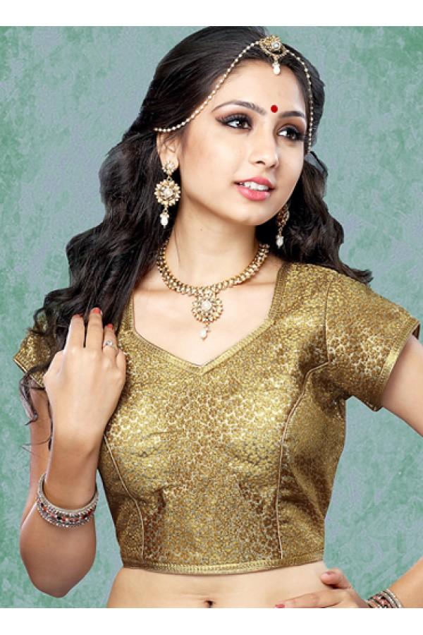 Party Wear Readymade Brown Brocade Blouse - 77876