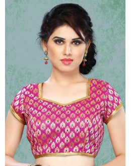 Party Wear Readymade Pink Brocade Blouse - 77884
