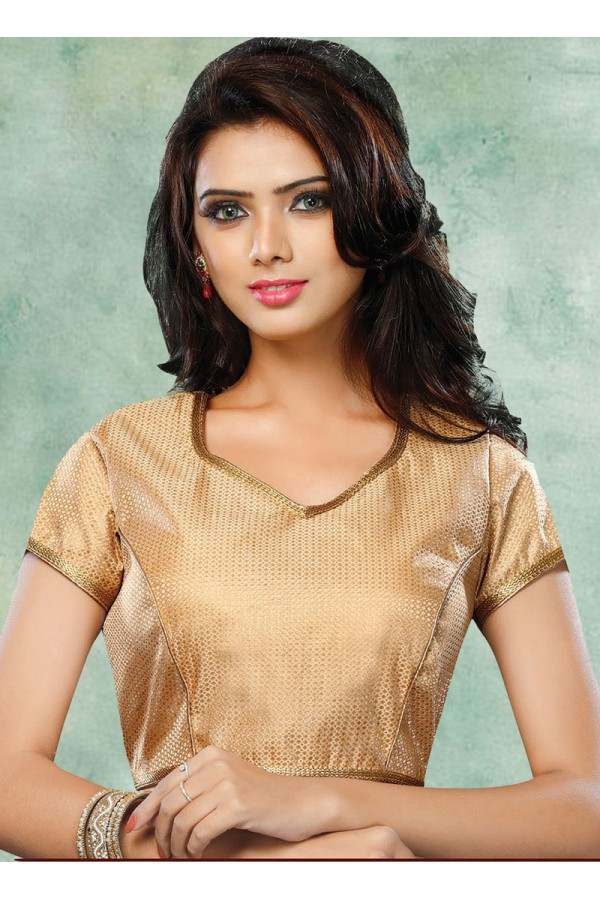 Party Wear Readymade Brown Brocade Blouse - 77894