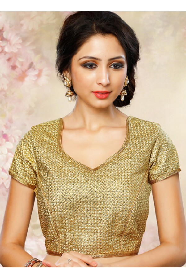 Ethnic Wear Readymade Gold Brocade Blouse - 77905