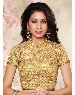 Party Wear Readymade Beige Brocade Blouse - 77907