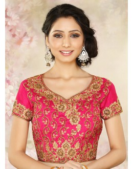 Wedding Wear Readymade Pink Silk Blouse - 77912