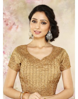 Wedding Wear Readymade Brown Silk Blouse - 77915