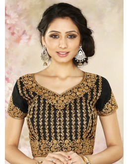 Wedding Wear Readymade Black Silk Blouse - 77916