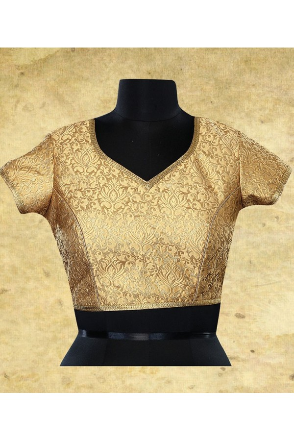 Wedding Wear Readymade Beige Brocade Blouse - 77937