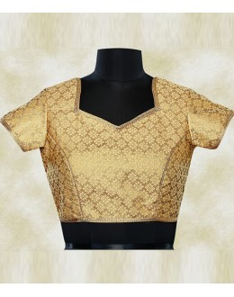 Party Wear Readymade Brown Brocade Blouse - 77942