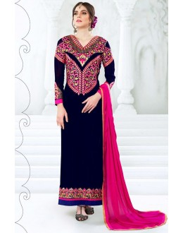 Festival Wear Navy Blue Georgette Salwar Suit  - 77990