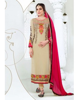 Party Wear Beige & Pink Georgette Salwar Suit  - 77991