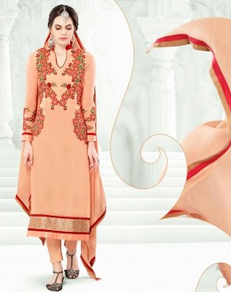 Party Wear Orange Georgette Salwar Suit  - 77992