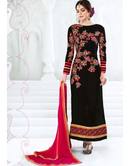 Festival Wear Black & Pink Georgette Salwar Suit  - 77993