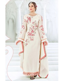Ethnic Wear Off White Georgette Salwar Suit  - 77994