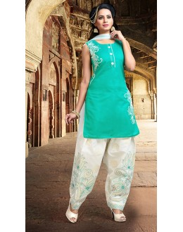 Office Wear Readymade Turquoise Chanderi Silk Patiyala Suit - 78070