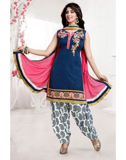 Party Wear Readymade Navy Blue Chanderi Silk Patiyala Suit - 78071