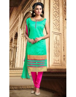 Festival Wear Readymade Green Silk Salwar Suit - 78078