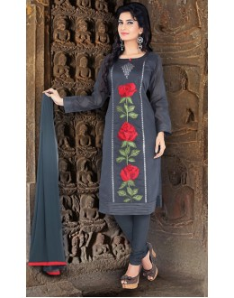 Casual Wear Readymade Grey Chanderi Silk Salwar Suit - 78085